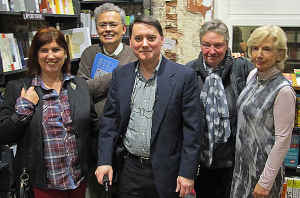 Readers at 2013 AQ Yearbook Launch Party and Reading. L. to r. Susan Carey, Lucien Knoedler, Bryan Monte, Kate Foley and Robin Winckel-Mellish. Susan de Sola missing.