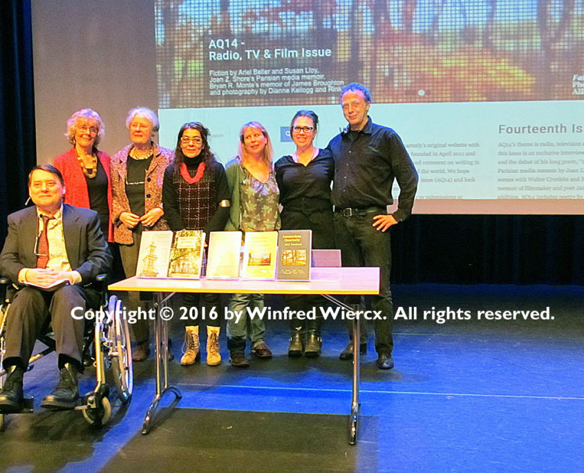 2015 Yearbook Launch Readers OBA Amsterdam, 4 Feb. 2016 L. to r. Bryan R. Monte, Pat Seman, Sarah Kinebanian, Amina Imzine, Abra Bertman, Sharon Feigal and Philibert Schogt. Photo copyright 2016 by Winfred Wiercx. All rights reserved.